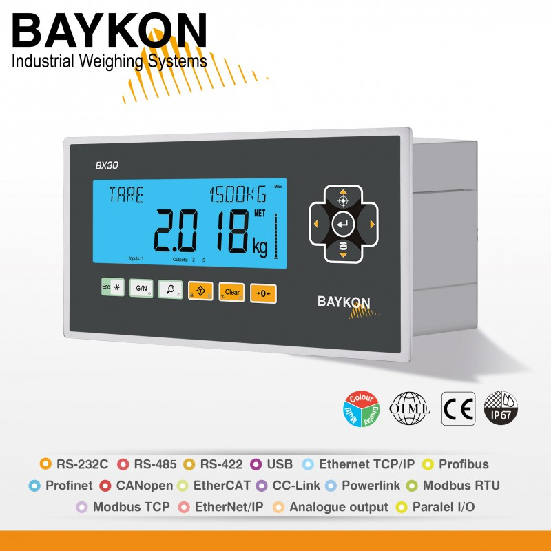 New Weighing Indicator BX30 From Baykon Inc.