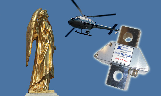 Smart heli-hook from Sensor Technology Ltd helps raise golden statue to top of a church