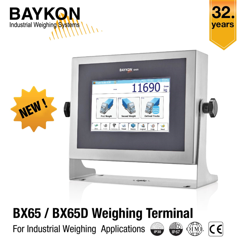 From BAYKON - New Weighing Terminals BX65 / BX65D for Industrial Weighing Applications