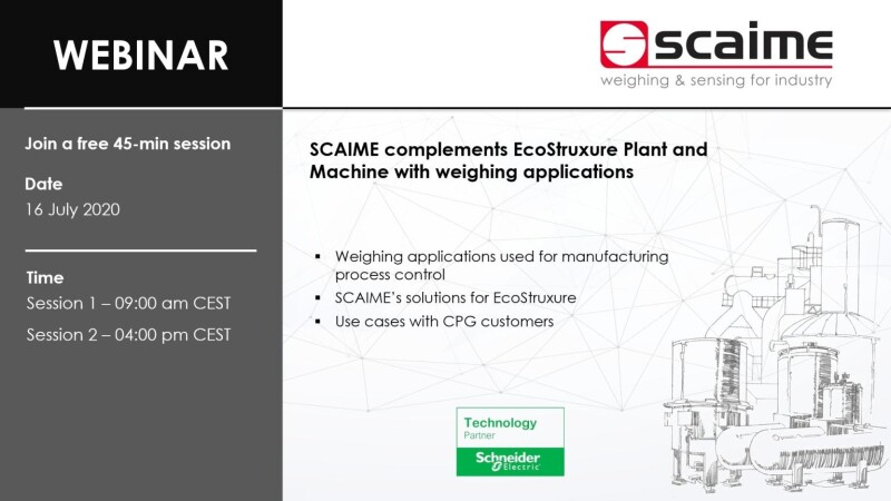 Free Webinar: SCAIME complements EcoStruxure Plant and Machine with weighing applications