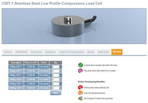 LCM Systems Launches E-Commerce Site for Load Cells with 5% Discount for Ordering Online
